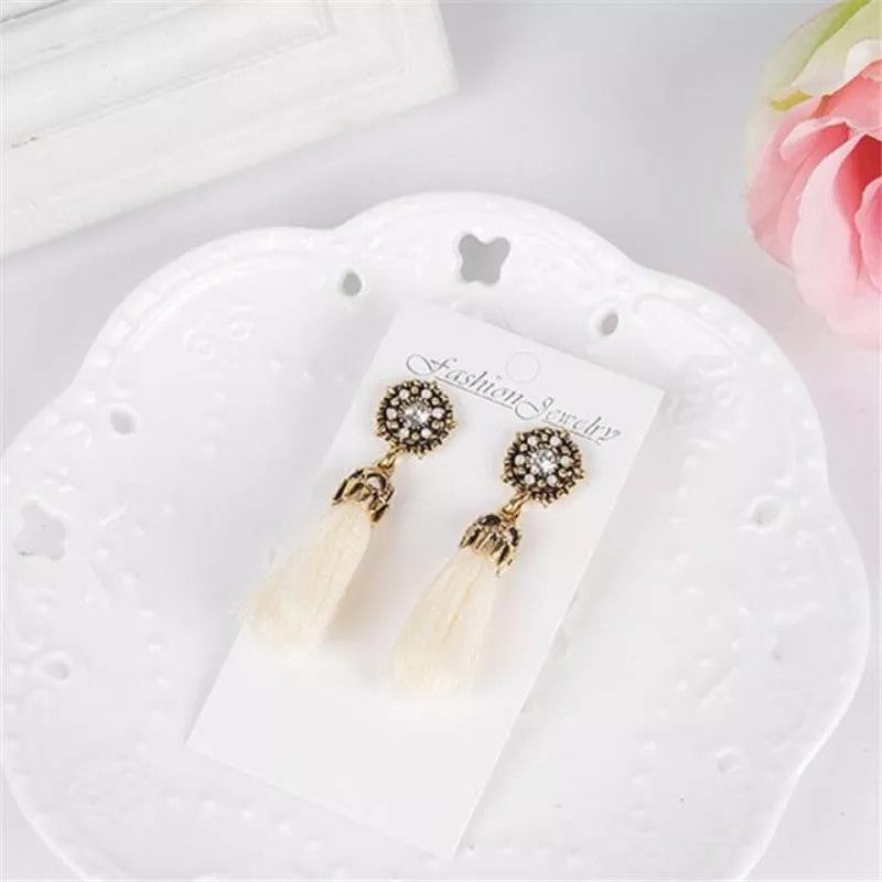 Fashion Diamond Tassel Stud Earrings