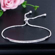 Load image into Gallery viewer, CWWZircons Adjustable Bracelet Bangle for Women Captivate Bar Slider Brilliant CZ Rose Gold Color Jewelry Pulseira Feminia CB089