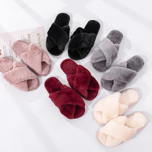 Load image into Gallery viewer, Winter Women House Slippers Faux Fur Fashion Warm Shoes Woman Slip on Flats Female Slides Black Pink cozy home  furry slippers