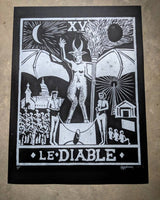 Devil Card linoleum block print