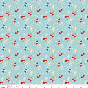 Bake Sale 2 Fabric - Cherries on Aqua - Remnant