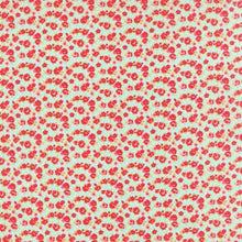 "Load image into Gallery viewer, Little Ruby - 5"" Squares Pre-cut - Red Floral on Aqua"