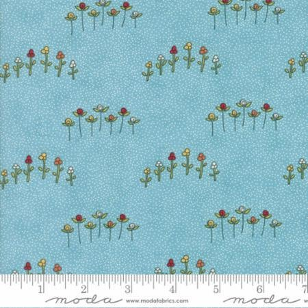 "Treehouse Club Fabric - Half Square Triangles Pre-cut (2"" Finished Square) - Flowers on Blue"