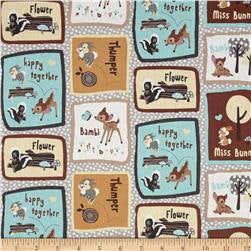 Bambi Thumper and Flower Patchwork Fabric