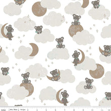 "Load image into Gallery viewer, Sleep Tight - 5"" Squares Pre-cut - Teddy Bear Moon Sparkle on White"