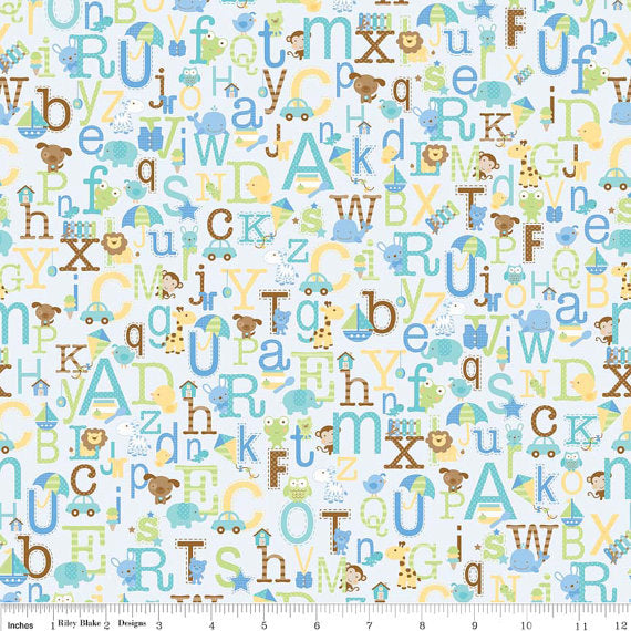 Alphabet Animal Fabric - Snips and Snails