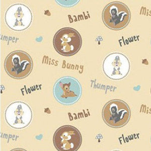 Bambi Thumper and Flower Circles Fabric Remnant