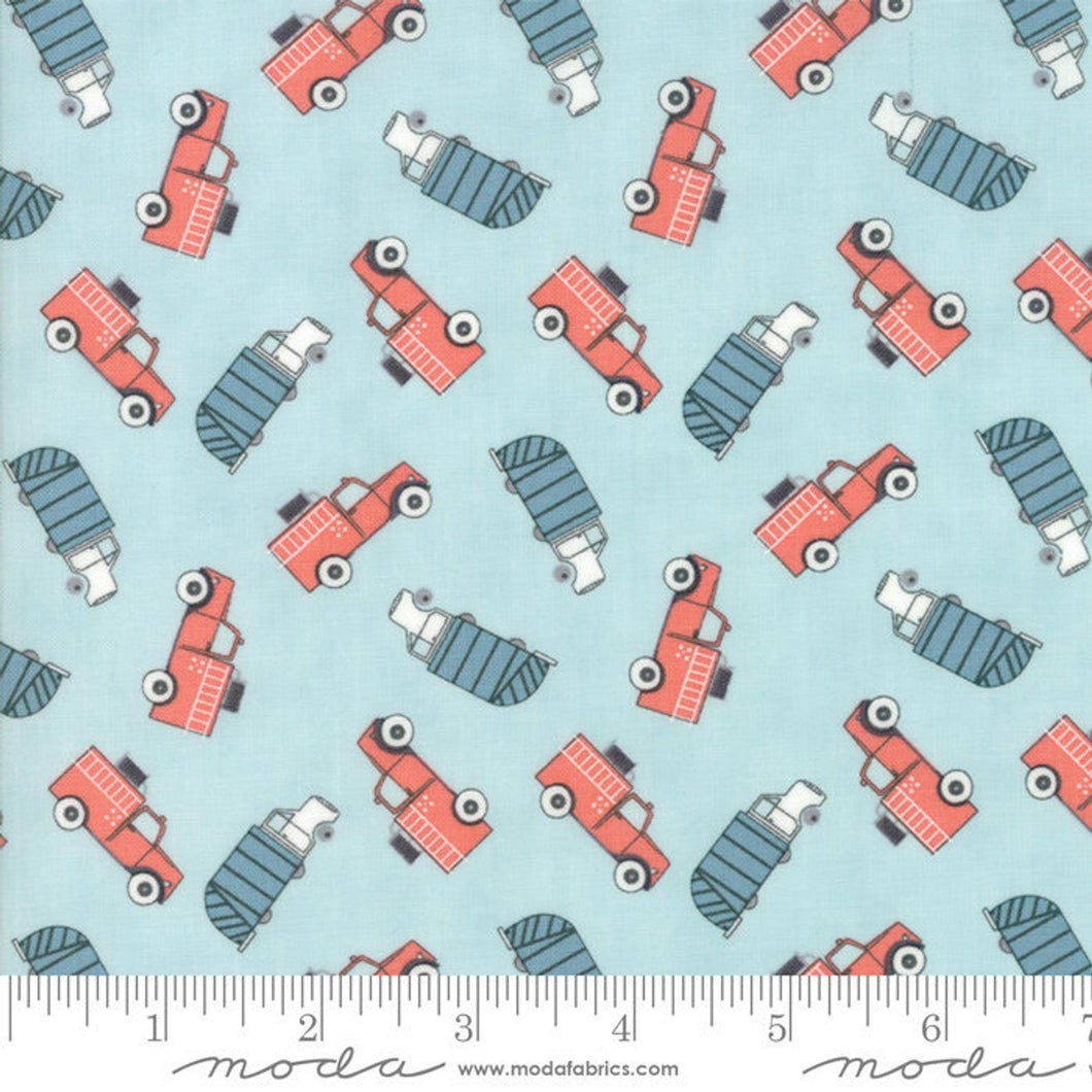 Mighty Machines Fabric - Trucks on Aqua Blue