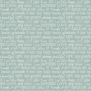 Words to Live By Fabric - Blue Text Motivation