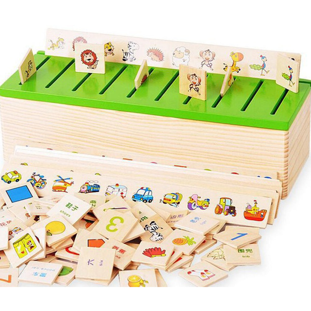 Montessori Knowledge Classification Box Learn-checkers Wood Box Toy for Children