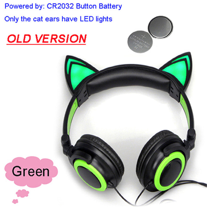 Foldable Flashing Glowing cat ear headphones Gaming Headset Earphone with LED light For PC Laptop Computer Mobile Phone