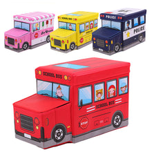 Load image into Gallery viewer, Multi Usage Police Car School Bus Vehicle Toy Storage Box Kids Stool Household