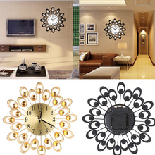 Load image into Gallery viewer, Modern Flower Rhinestones Arabic Numeral Wall Clock Home Living Room Decoration