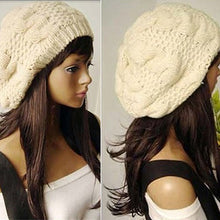 Load image into Gallery viewer, Women Sweet Crochet Warm Solid Color Beret Artist Baggy Beanie Winter Hat Gift