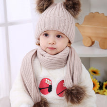 Load image into Gallery viewer, Baby Boys Girls Knitting Woolen Yarn Winter Scarf Beanie Set with Faux Fur Balls