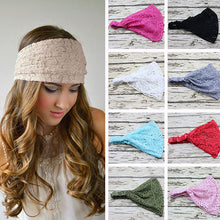 Load image into Gallery viewer, Women Fashion Bandanas Turban Lace Hollow Pattern Hair Band Wide Headband