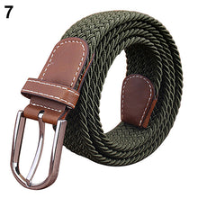Load image into Gallery viewer, Men's Women's Canvas Plain Webbing Metal Buckle Woven Stretch Waist Belt Strap