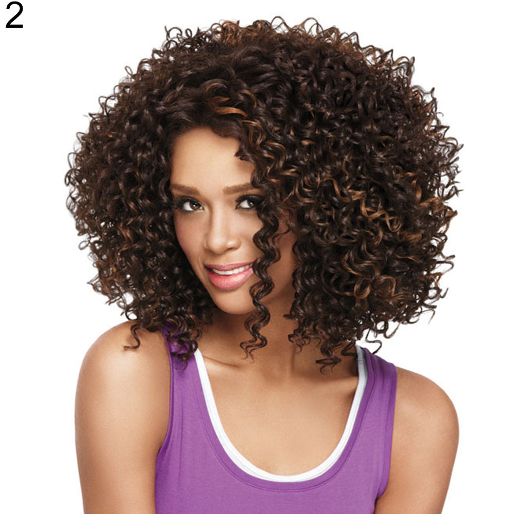 Women Fashion Shoulder Length Mini Curly African American Afro Hair Full Wig