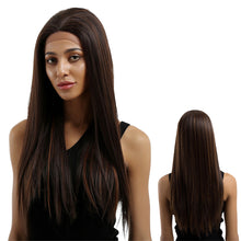 Load image into Gallery viewer, Fashion Women Mixed Color Long Straight Synthetic Lace Front Party Hair Wig