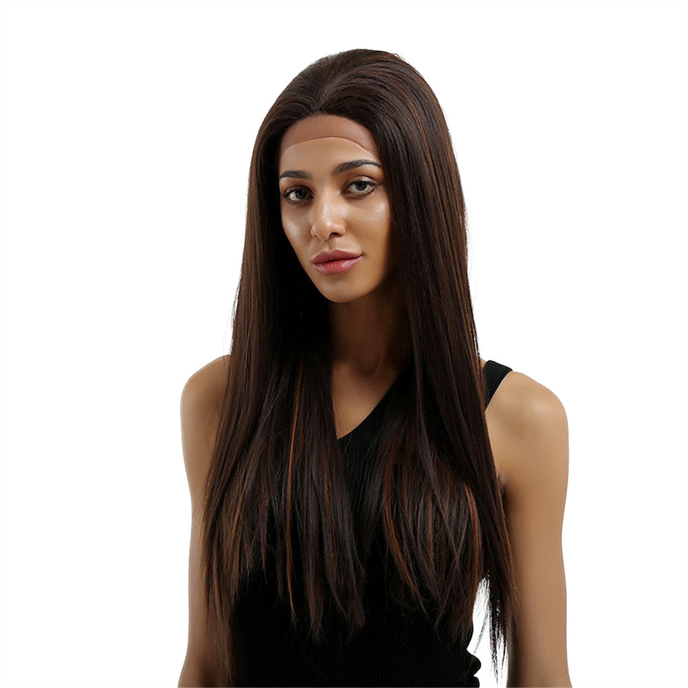 Fashion Women Mixed Color Long Straight Synthetic Lace Front Party Hair Wig
