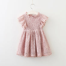 Load image into Gallery viewer, Summer Kids Baby Girl Solid Color Hollow Lace Pompom Short Sleeve O-Neck Dress