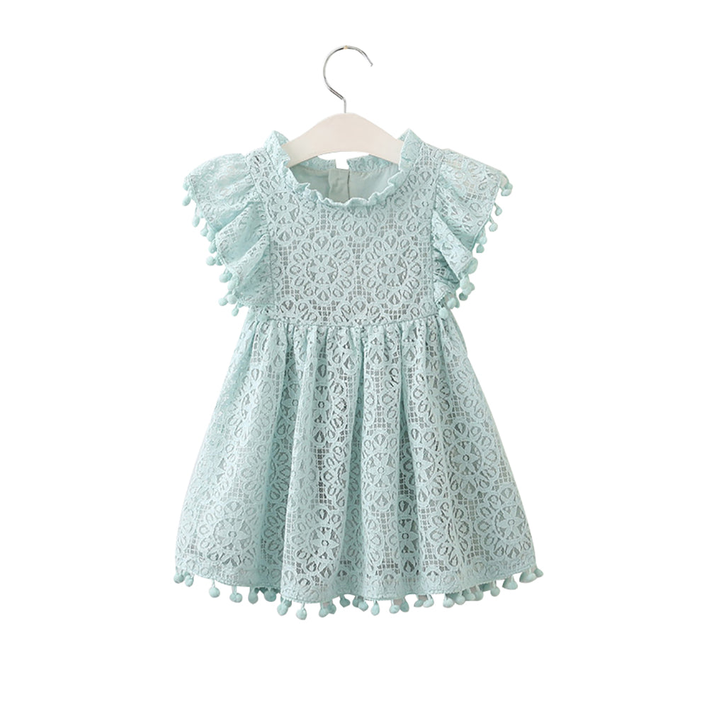 Summer Kids Baby Girl Solid Color Hollow Lace Pompom Short Sleeve O-Neck Dress