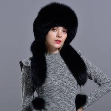 Load image into Gallery viewer, Bomber fur hat with tail Winter women natural fox rabbit fur warm thick diamond fashionable stylish girls Mongolian hat