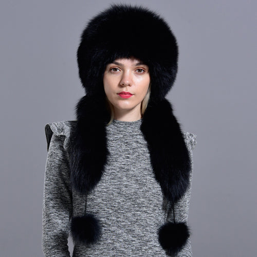Bomber fur hat with tail Winter women natural fox rabbit fur warm thick diamond fashionable stylish girls Mongolian hat
