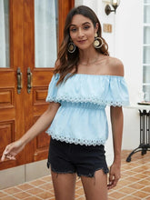 Load image into Gallery viewer, Women Summer Sexy Slash Neck Ruffled Blue Short Shirt Lace Stitching Elastic Waist Blouse