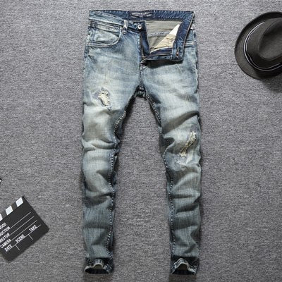 Italian Designer Men Jeans High Quality Slim Fit Cotton Ripped Jeans Homme Plus Size 29-38 Balplein Brand Classical Jeans Men