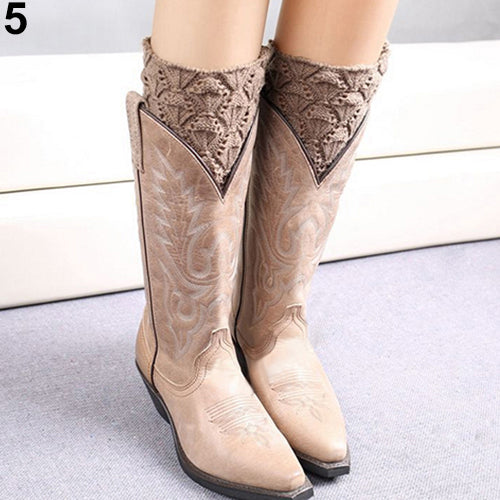 Women's Fashion Winter Crochet Knit Leg Warmers Toppers Cuffs Short Boot Socks