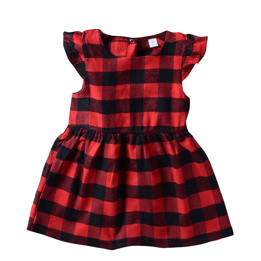 Toddler Dress Baby Girl Plaid Ruffled Sleeveless Outfits Princess Party Clothes