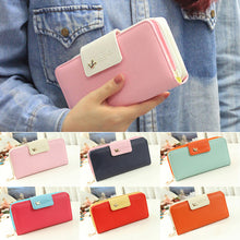 Load image into Gallery viewer, Women's Zipper Faux Leather Card Phone Holder Clutch Wallet Long Purse Handbag
