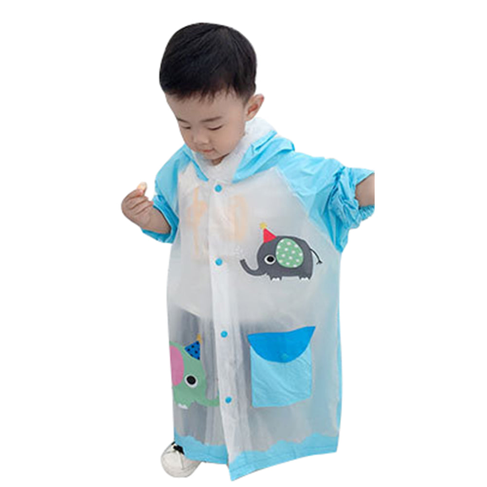 Lovely Cartoon Raincoat Children Kids Waterproof Poncho with Backpack Position