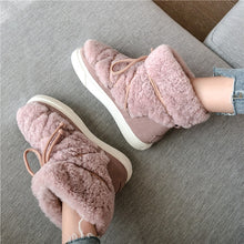 Load image into Gallery viewer, FEDONAS Sweet Women Wool Cow Suede Ankle Boots Female Big Size Snow Boots Dancing Casual Shoes Woman Newest Flats Platform Boots
