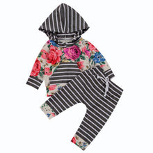 Load image into Gallery viewer, Baby Toddler Girls Casual Floral Striped Long Sleeve Hoodie Pants Trousers Outfit