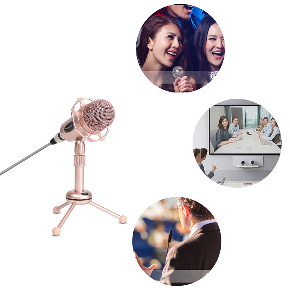 3.5mm Portable Omnidirectional XLR Cable Karaoke Singing Computer Microphone Mic
