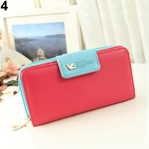 Women's Zipper Faux Leather Card Phone Holder Clutch Wallet Long Purse Handbag