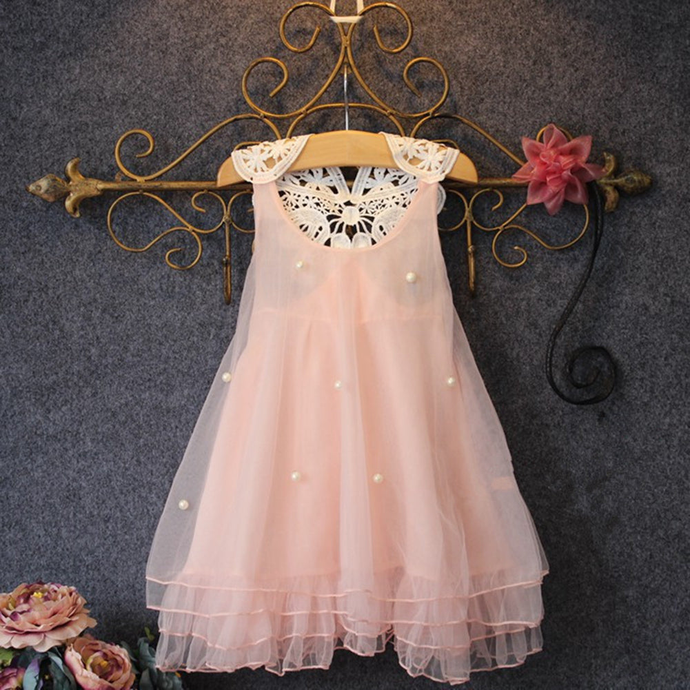 Cute Baby Girl Imitation Pearl Decor Sleeveless Loose Lace Flower Back Dress