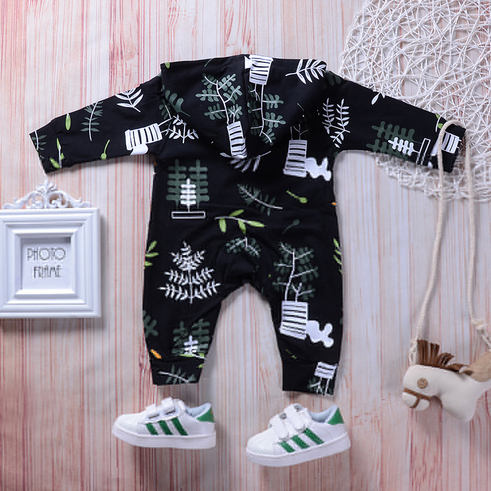 Fashion Autumn Baby Girls Boys Long Sleeve Hooded Leaves Romper Jumpsuit