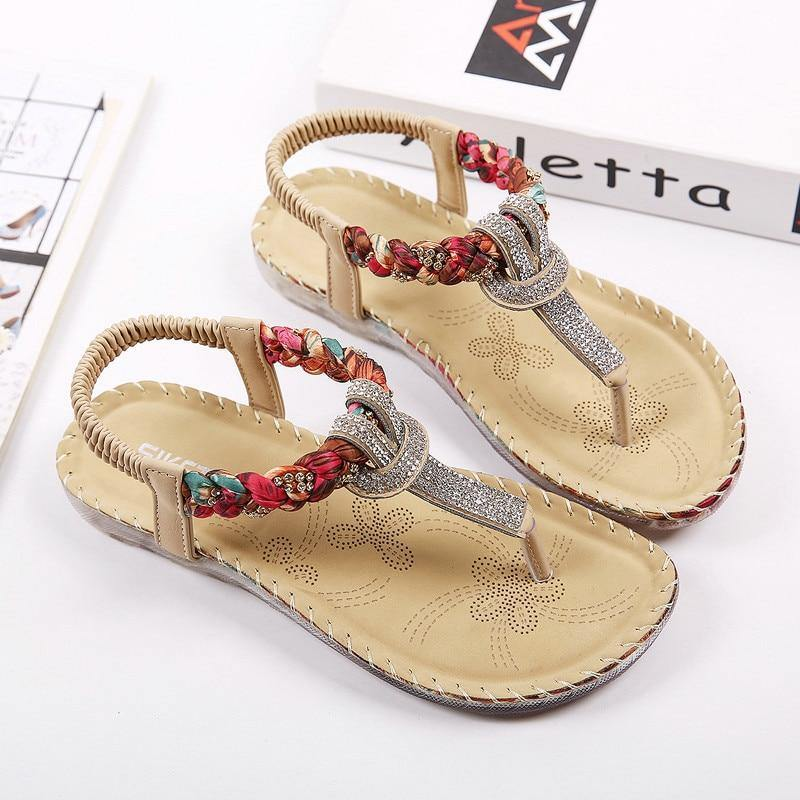 Summer Sandals Women T-strap Flip Flops Thong Sandals Designer Elastic Band Ladies Gladiator Sandal Shoes Zapatos Mujer - Winglobal