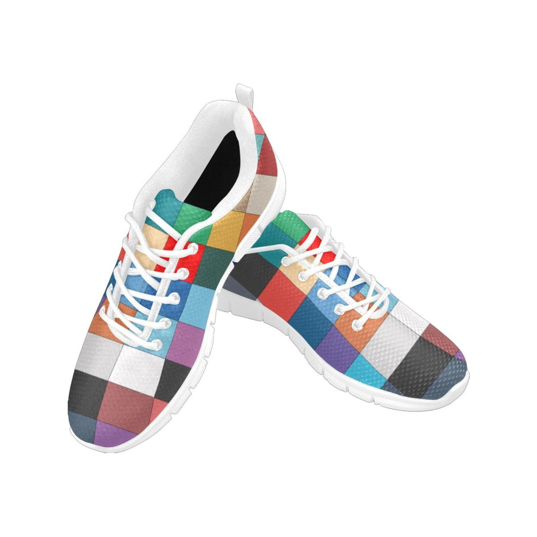 Womens Sneakers, Multicolor Block Style White Bottom Running Shoes