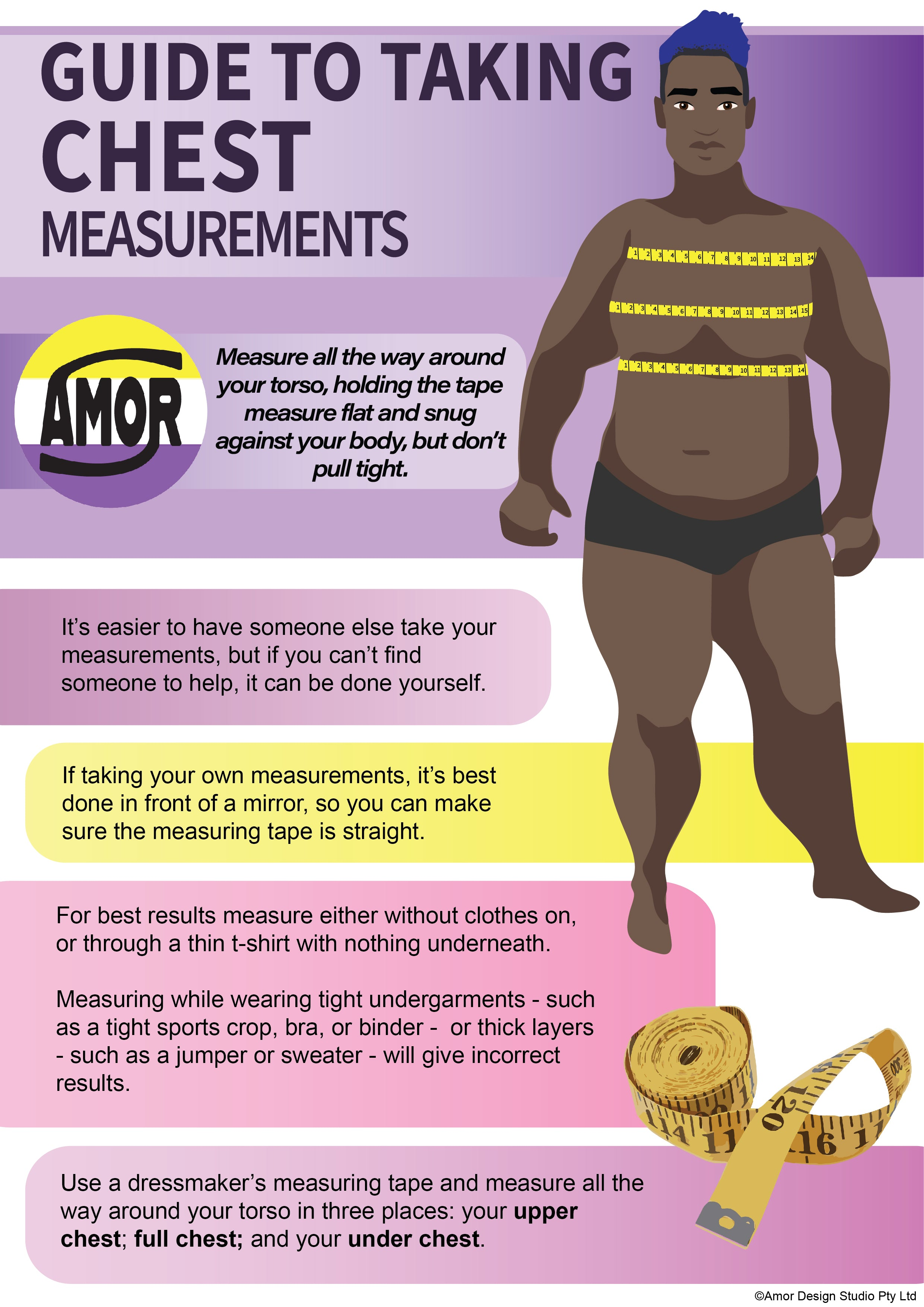 Guide To Taking Chest Measurements  Measure all the way around your torso, holding the tape measure flat and snug against your body, but don't pull tight.  It's easier to have someone else take your measurements, but if you can't find someone to help, it can be done yourself.  If taking your own measurements, it's best done in front of a mirror, so you can make sure the measuring tape is straight.  For best results measure either without clothes on, or through a thin t-shirt with nothing underneath. Measuring while wearing tight undergarments - such as a tight sports crop, bra, or binder - or thick layers - such as a jumper or sweater - will give incorrect results.  Use a dressmaker's measuring tape and measure all the way around your torso in three places: your upper chest; full chest; and your under chest.