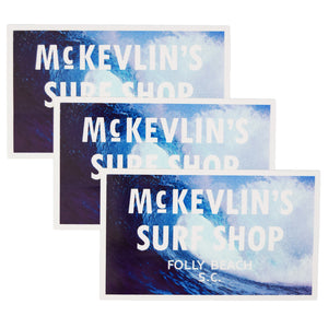 McKevlin's - 65 Sticker 3-Pack - Blue Wave/White - MCKEVLIN'S SURF SHOP