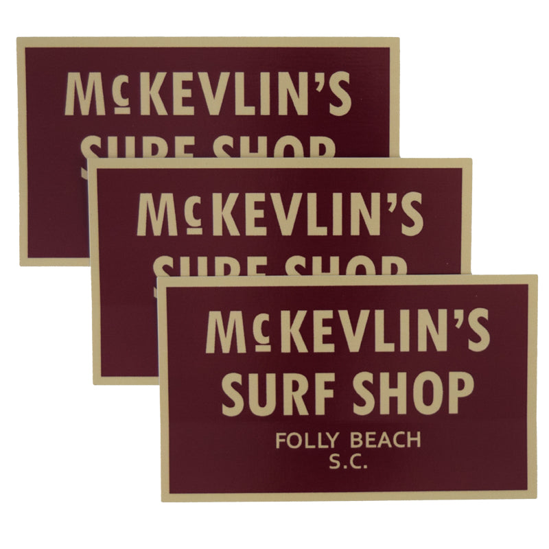 McKevlin's - 65 Sticker 3-Pack - Maroon/Gold - MCKEVLIN'S SURF SHOP