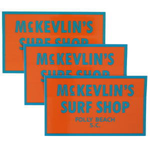 McKevlin's - 65 Sticker 3-Pack - Orange/Teal - MCKEVLIN'S SURF SHOP