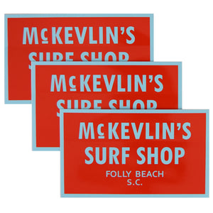 McKevlin's - 65 Sticker 3-Pack - Red/Light Blue - MCKEVLIN'S SURF SHOP