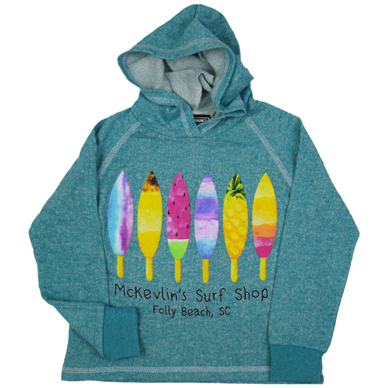McKevlin's - Board Pops Youth Girls' Hoodie - Peacock