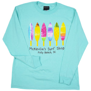 McKevlin's - Board Pops Youth Girls' L/S T - Celadon