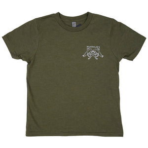 McKevlin's - No Egrets Youth S/S T - Heather Military Green - MCKEVLIN'S SURF SHOP